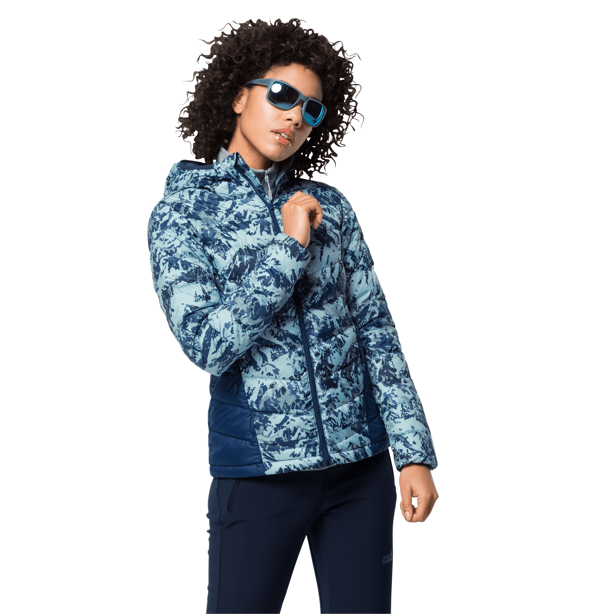 Frosted Blue All Over Windproof Down Jacket Women