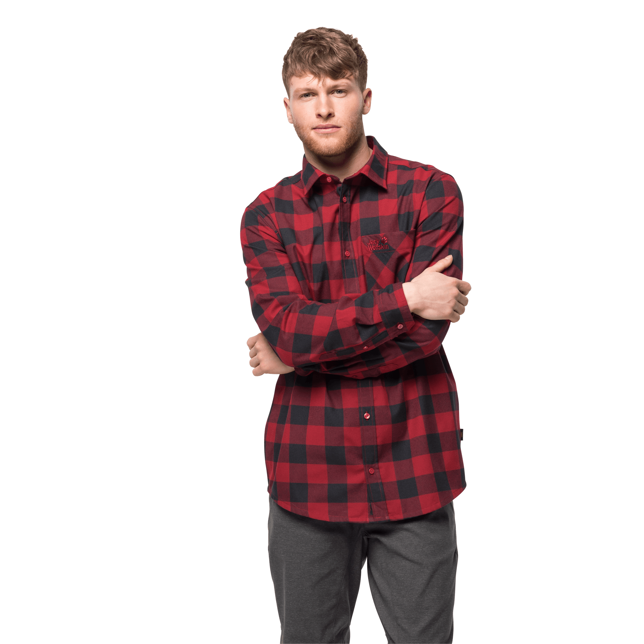 Red Lacquer Checks Flannel Shirt Men