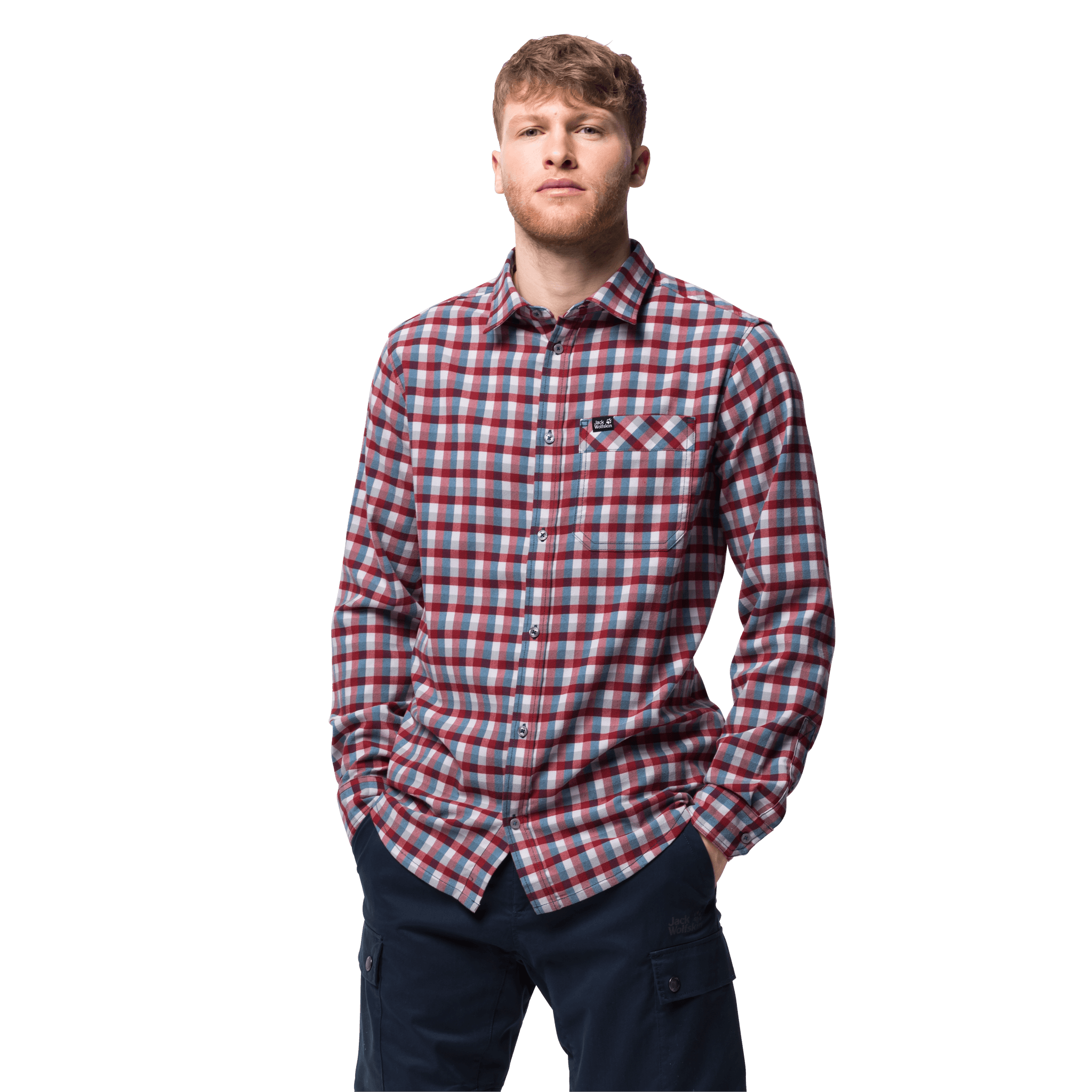 Dark Lacquer Red Checks Flannel Shirt Men