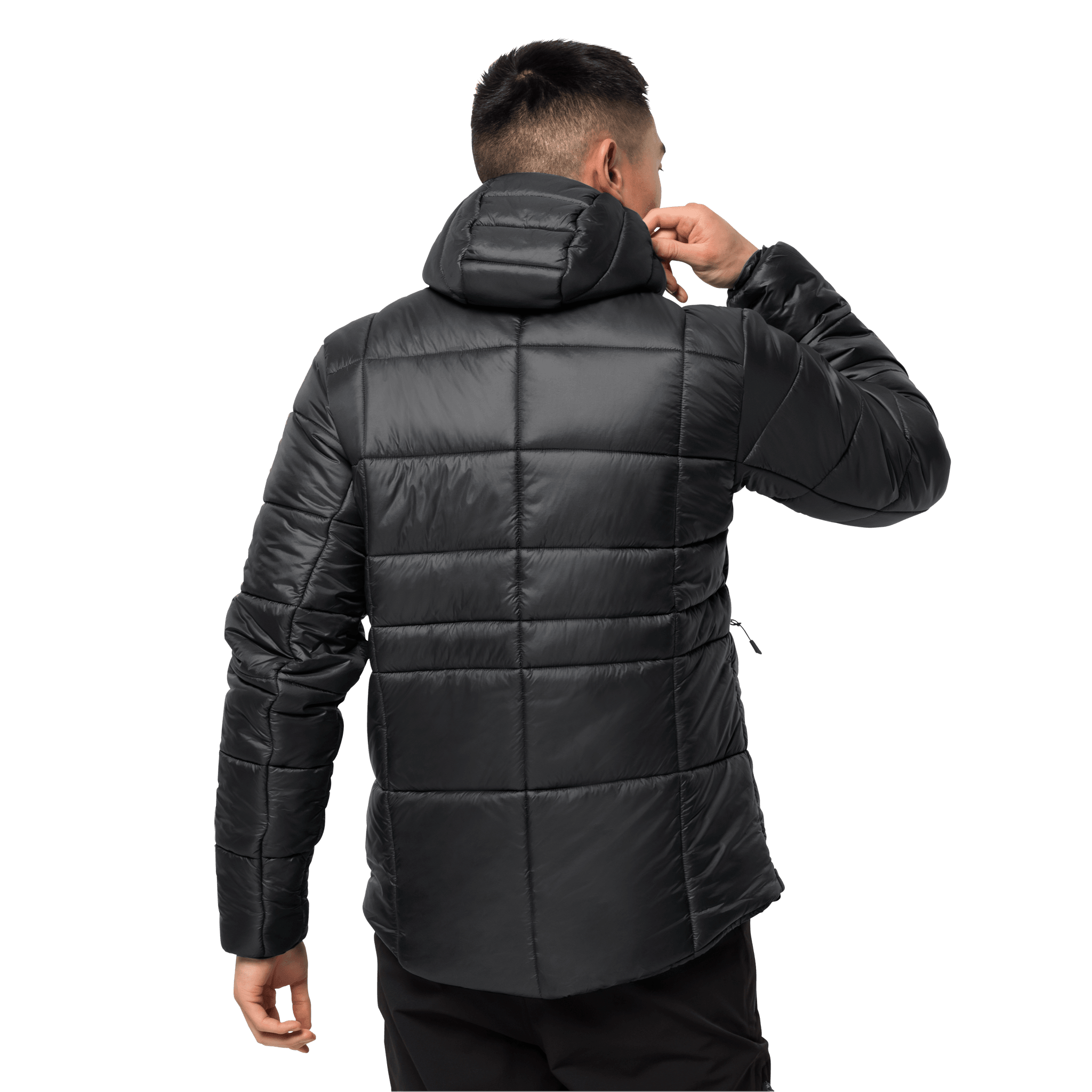 Black Windproof Insulated Jacket Men