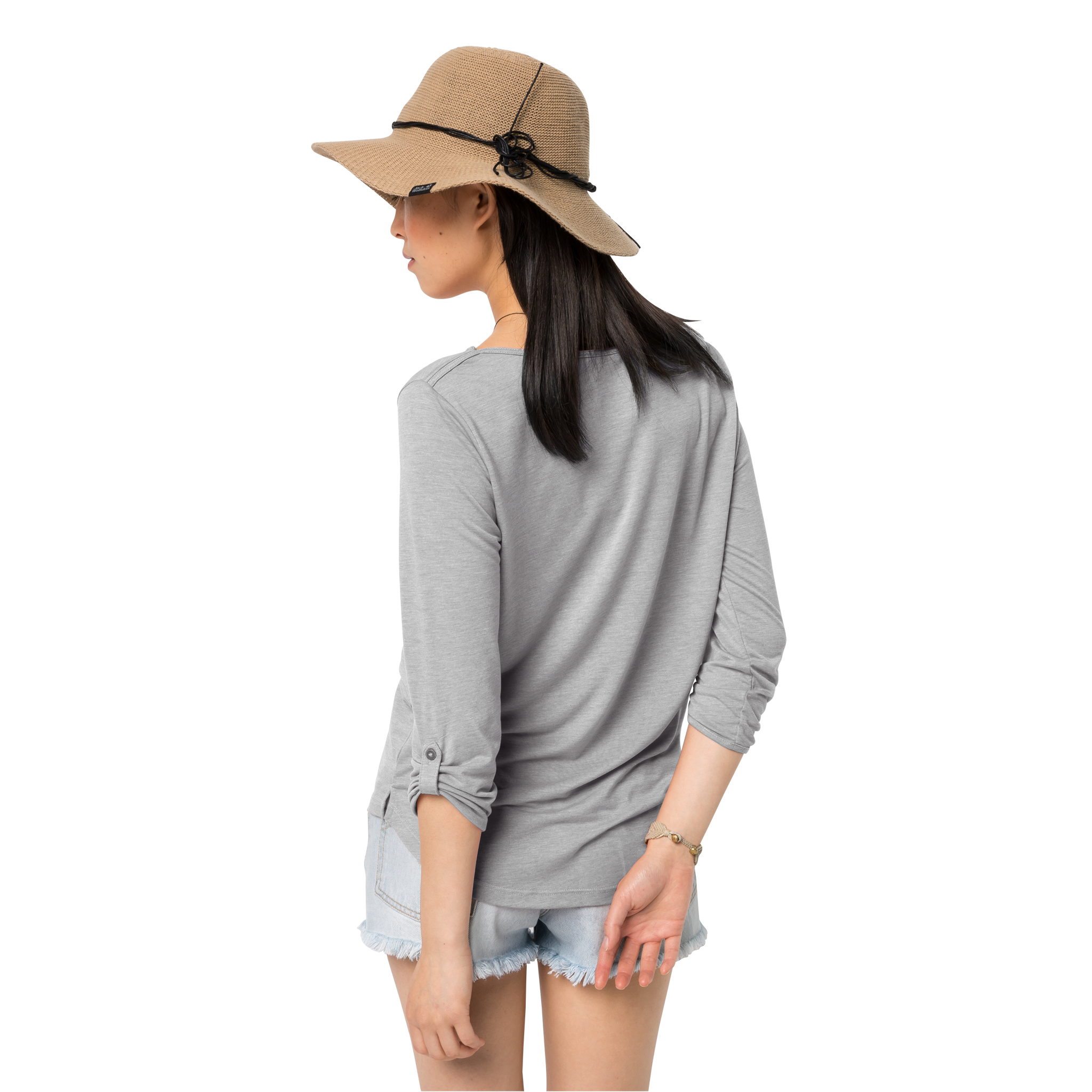 Light Grey Lightweight Casual 3/4 Sleeve