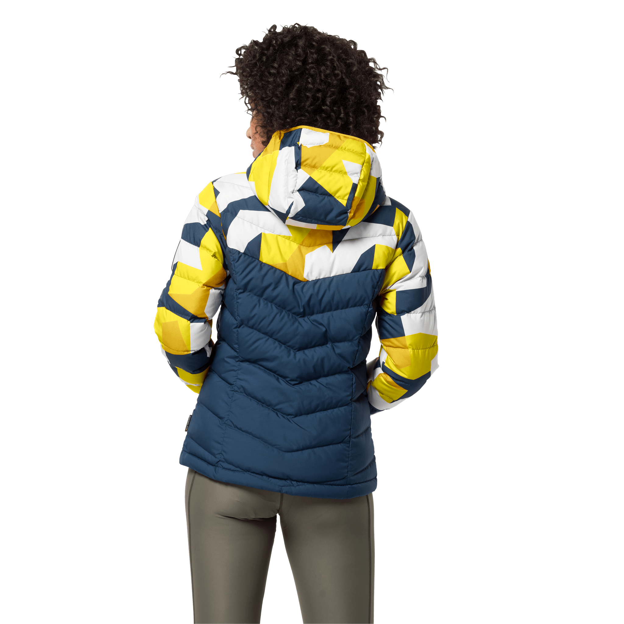 Vibrant Yellow All Over Windproof Down Jacket Women