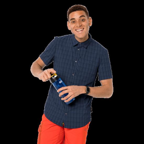 Night Blue Checks Short-Sleeved Button Up