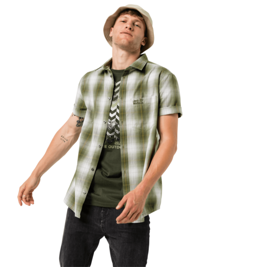 Dark Moss Checks Organic Cotton T-Shirt Men