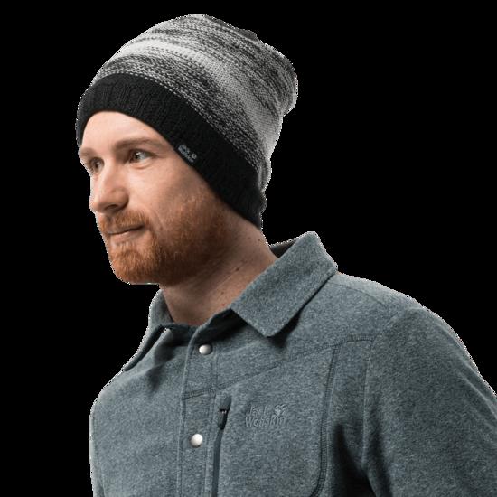 Black Knit Beanie With Fleece Lining